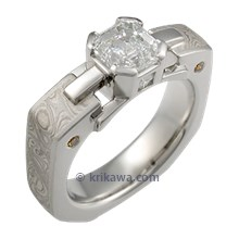 Mokume Falling Water Engagement Ring with Asscher and Platinum Mokume