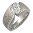 White Mokume Wave with Diamond Channel Engagement Ring
