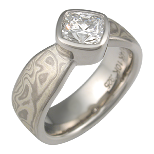 Mokume Solitaire Tapered Engagement Ring with Full Bezel