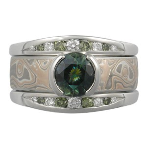 Bicolor Sapphire Mokume Solitaire Straight Engagement Ring and Enhancer