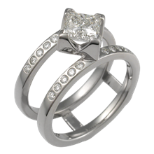 Modern Scaffolding Engagement Ring with Accent Diamonds