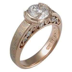 Champagne Mokume Curls Engagement Ring with 1.00 Ct Diamond