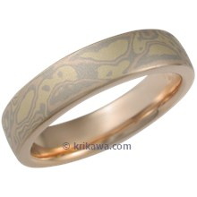 Trigold Mokume Wedding Band with Rose Gold Liner