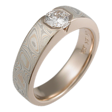 Mokume Flush Stone Solitaire with 88 Cut Diamond