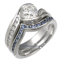 Carved Wave Engagement Ring and Blue Sapphire Wedding Band