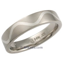 White Gold and Sterling Flush Inlay Wave Wedding Band