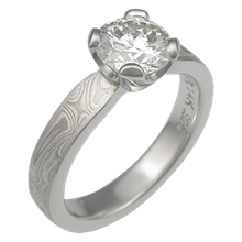 White Mokume Solitaire Tapered Engagement Ring with Custom Prongs