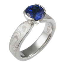 Blue Sapphire Mokume Solitaire Tapered Engagement Ring