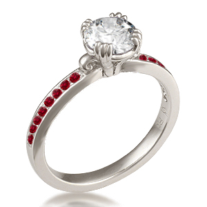 Carved Leaf Pave Engagement Ring with Ruby Accents in White Gold