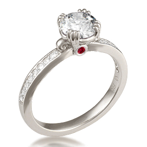 Carved Leaf Pave Engagement Ring with Ruby Surprise Stone in White Gold