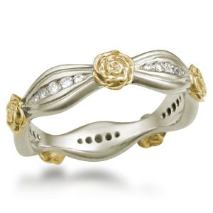 Flower Diamond Wedding Band in 10k Green Gold with 18k Yellow Gold Flowers
