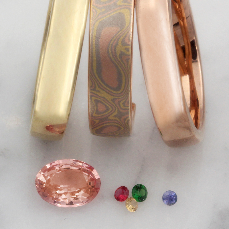 mokume,metal,and stone color samples for custom ring