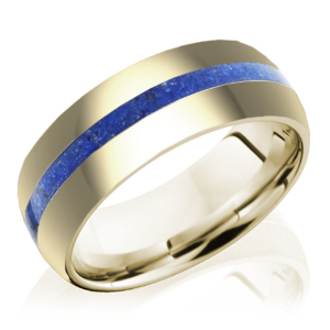 14k Yellow Gold with Lapis Center Stripe