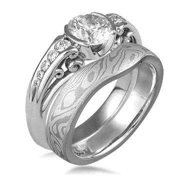 Carved Curls Engagement Ring with Iced Platinum Contoured Wedding Band