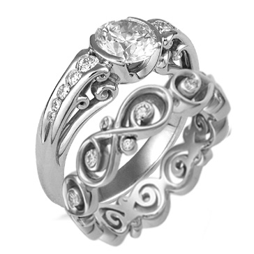 Carved Curls Engagement Ring with Ornate Infinity Wedding Band in Platinum with White Diamonds
