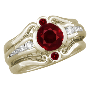 Carved Curls Engagement Ring with Ruby Enhanver in 10k Yellow Gold