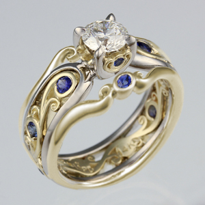 Carved Curls Engagement Ring with Yellow Gold Enhancer and Blue Sapphires