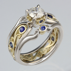 Carved Curls Engagement Ring with Curls Enhancer Two Tone with Blue Sapphires