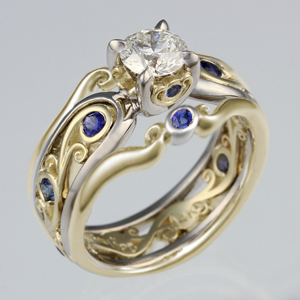 Carved Curls Enhancer in Two Tone Metals for Carved Curls Engagement Ring with Rails