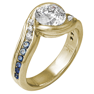 Carved Wave Engagement Ring in Yellow Gold with Graduating Sapphires to Diamonds