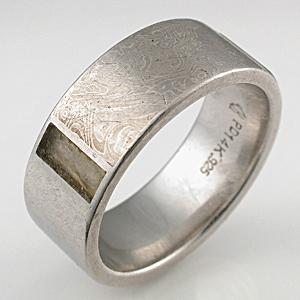 Mokume ring with lost Gemstone Inlay