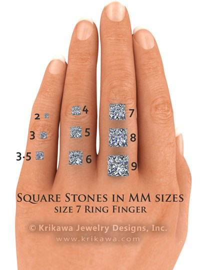 Princess cut sizes on the hand