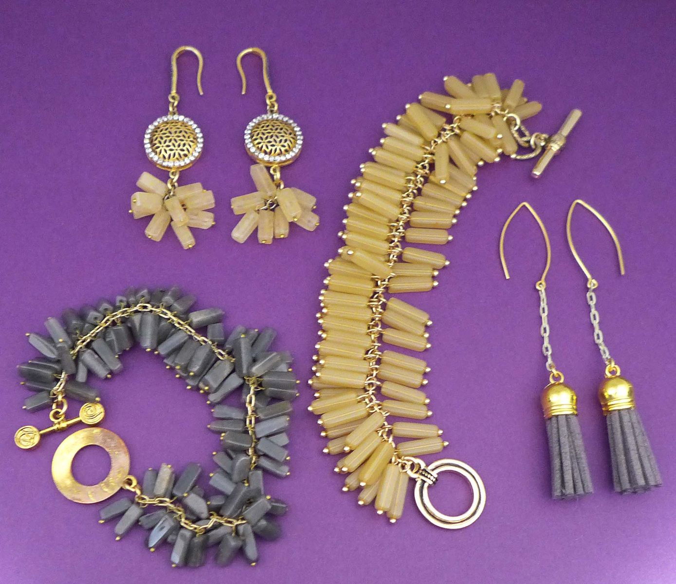 Spread of Jewelry made by Katy Richards