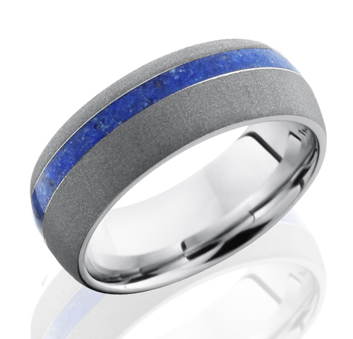 Blue Lapis Inlay Wedding Band Off Center Stripe