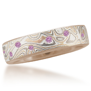 Champagne Mokume Wedding Band with Scattered Pink Sapphires