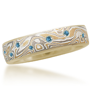 Summer Mokume Wedding Band with Scattered Blue Diamonds