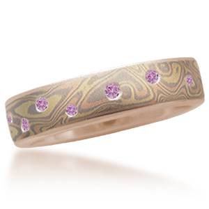 Trigold Mokume Wedding Band with Scattered Pink Sapphires