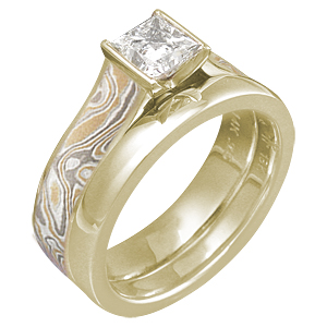 Summer Mokume Cathedral Bridal Set in 10k Yellow Gold