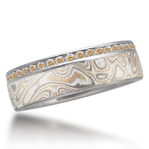 Champagne Mokume Diamond Side Channel Wedding Band with Champagne Diamonds
