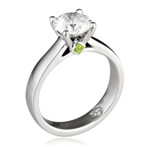 Modern Grace Engagement Ring with Light Green Gemstone Surprise