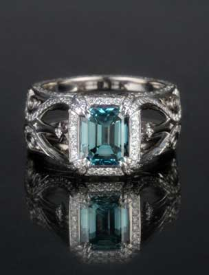Belle Epoque Custom Scaffold Engagement Ring with Blue Diamond