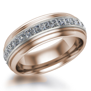 Mens Deco Diamond Wedding Band in 14k Rose Gold and White Gold