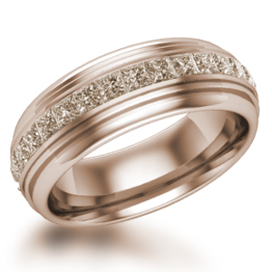 Mens Deco Diamond Wedding Band in 14k Rose Gold with Champagne Diamonds