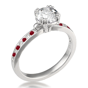 Carved Leaf Pave Engagement Ring with alternating diamonds and rubies