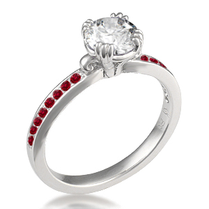 Carved Leaf Pave Engagement Ring with ruby accent stones