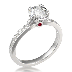 Carved Leaf Pave Engagement Ring with Peekaboo Ruby