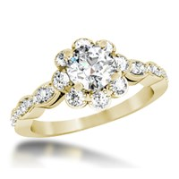 Scalloped Flower Engagement Ring in 14k Yellow Gold