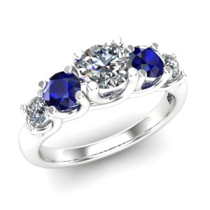5 stone diamond and sapphire ring