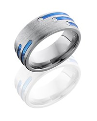 Blue and diamond mens wedding band