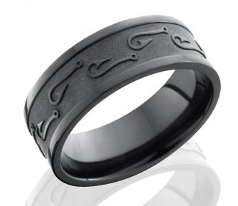 Black mens wedding band with custom pattern