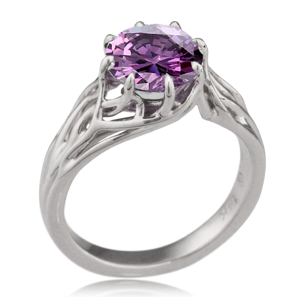 Embracing Tree Branch Engagement Ring with Round Amethyst
