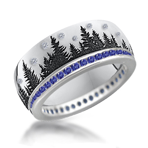 Tree Band with Diamonds in the Sky and Sapphire Eternity Band