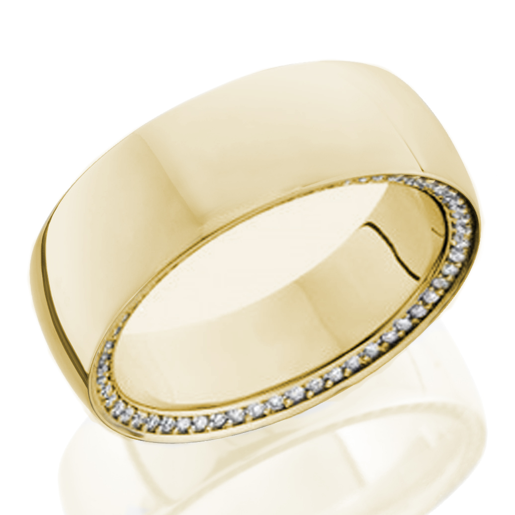 Yellow Gold Side Diamonds Wedding Ring