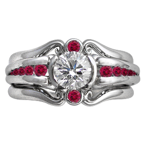 Carved Curls Engagement Ring and Enhancer with Rubies
