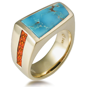 Sonoran Mens Ring with Poppy Topaz