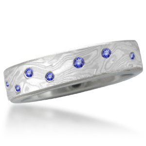 Iced Platinum Mokume Wedding Band with Scattered Sapphires